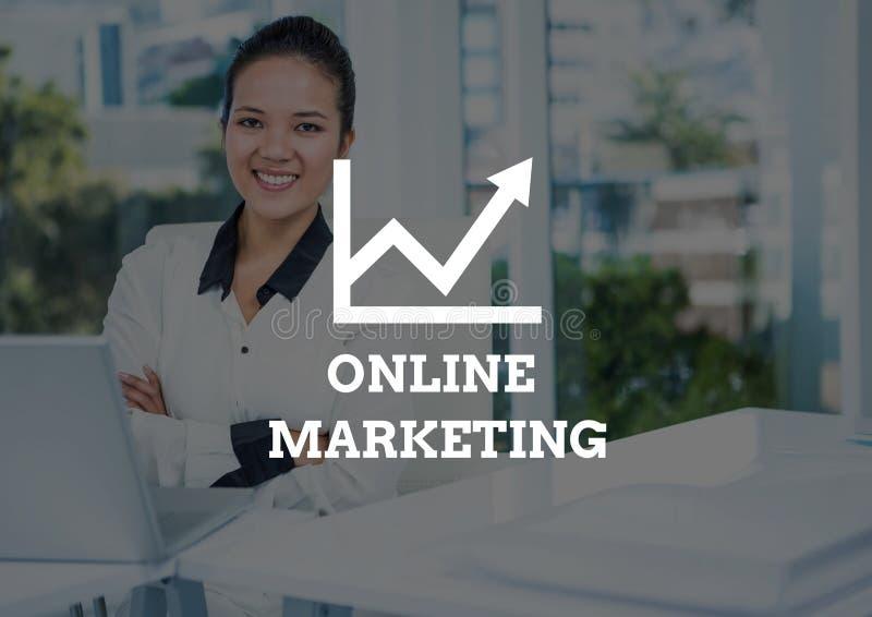 Online-Marketings-Text- und -frauenarme falteten sich mit Laptop und dunkler Überlagerung vektor abbildung