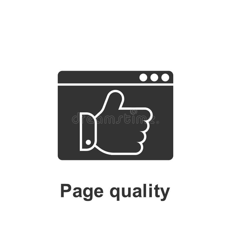 Online-marknadsf?ring, kvalitets- symbol f?r sida Best?ndsdel av den online-marknadsf?ra symbolen H?gv?rdig kvalitets- symbol f?r vektor illustrationer