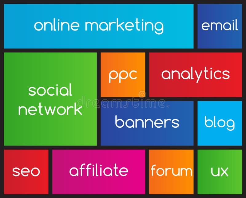 Online-marknadsföringslägenhetsymboler royaltyfri illustrationer