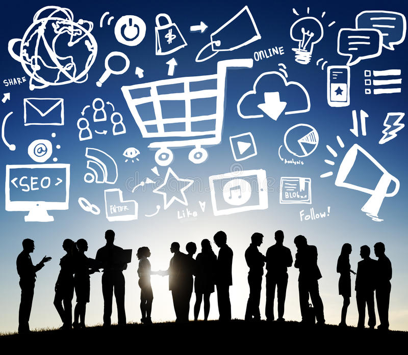 Online-marknadsföringsstrategi som brännmärker kommersadvertizingbegrepp fotografering för bildbyråer