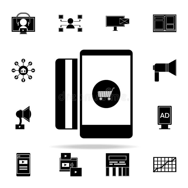 online-marknadsföringssymbol Universell uppsättning för Digital marknadsföringssymboler för rengöringsduk och mobil royaltyfri illustrationer