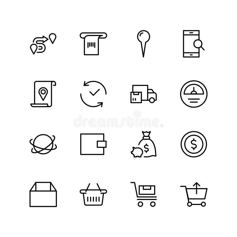 Online-marknadslägenhetsymbol royaltyfri illustrationer