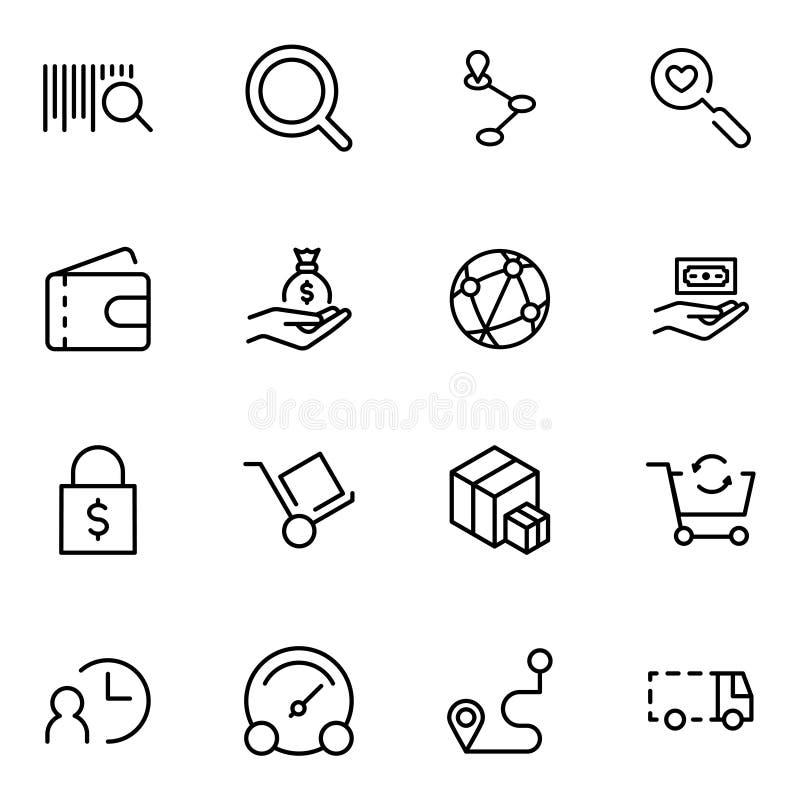 Online-marknadslägenhetsymbol stock illustrationer