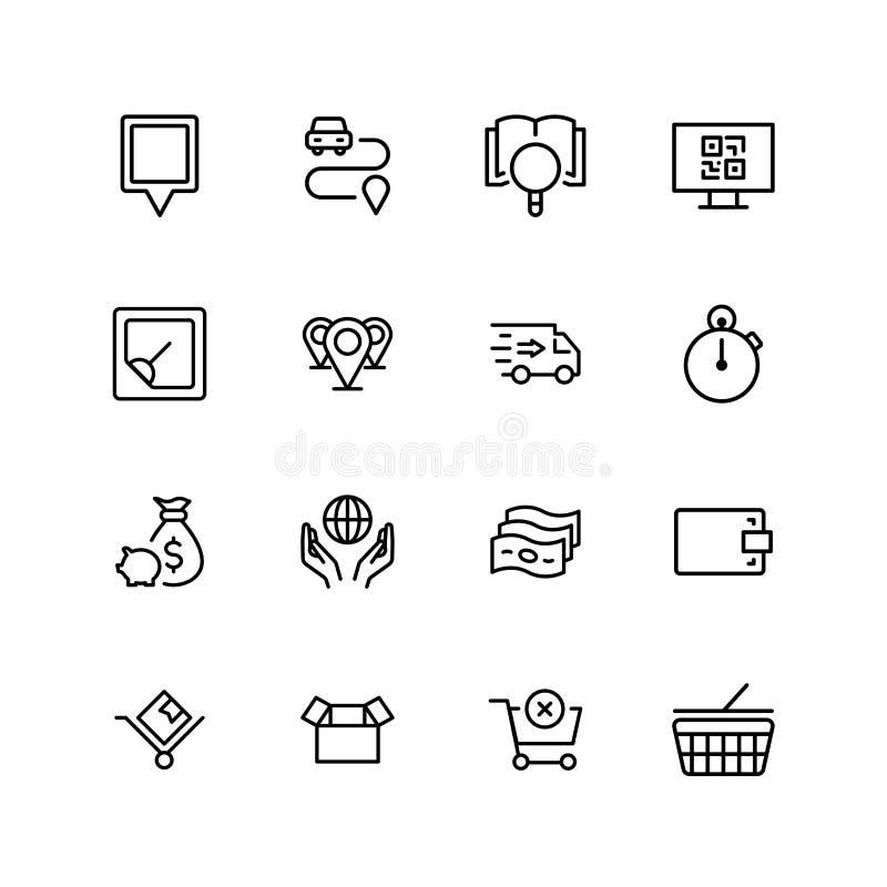 Online-marknadslägenhetsymbol vektor illustrationer