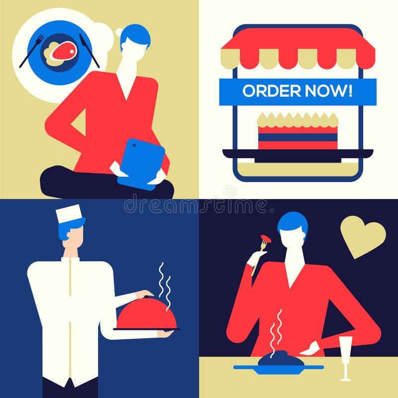 Online-mat som beställer - färgrik illustration för plan designstil vektor illustrationer