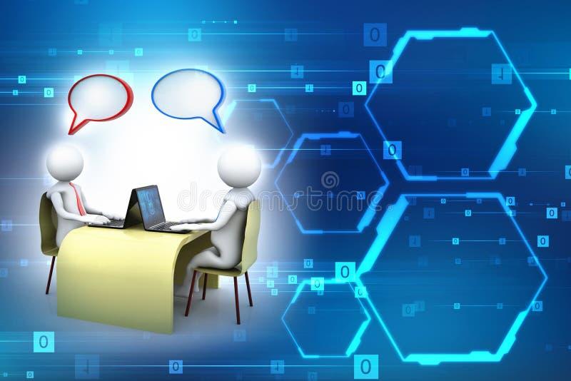 Online mededeling Het babbelen, Bedrijfs Communicatie Concept het 3d teruggeven royalty-vrije illustratie