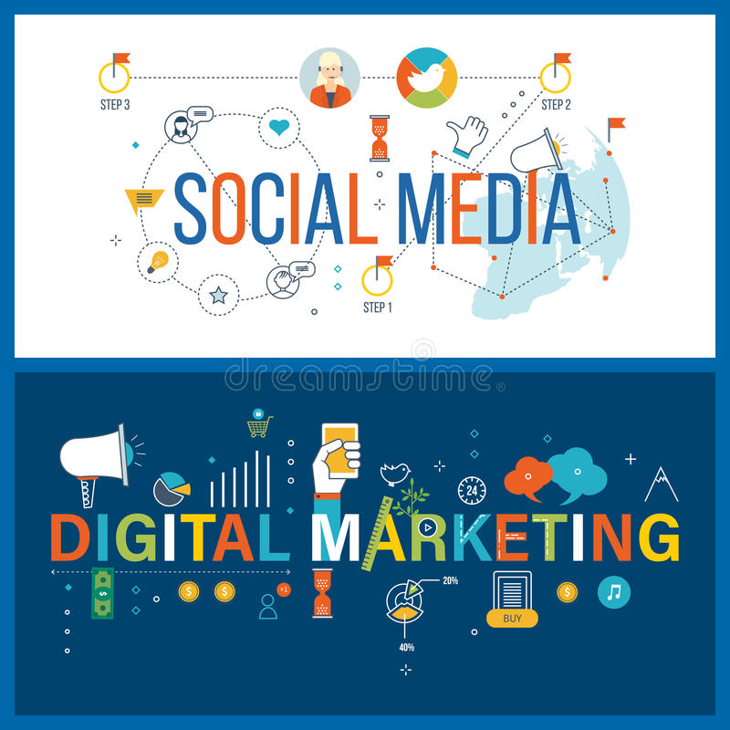 Online mededeling, sociale media, digitaal en mobiel marketing concept stock illustratie
