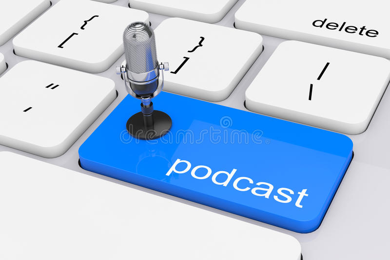 Online Media Concept. Blue Podcast Button with Microphone. 3d Re royalty free illustration