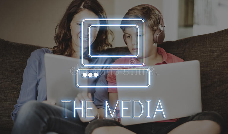 Online Media Technolgoy Website Concept stock photos