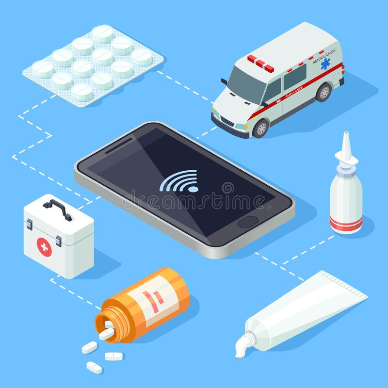 Online medical app for first aid isometric vector vector illustration