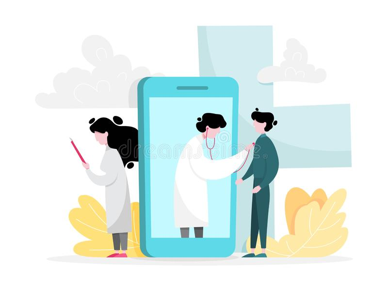 Online medical consultation concept. Idea of digital royalty free illustration