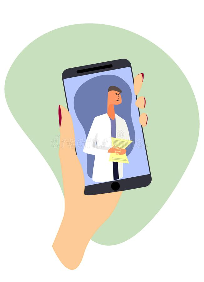 Online medical consultation concept. Medical app marketing banner. Hand holding smartphone with a doctor on the screen. Online medical consultation concept vector illustration