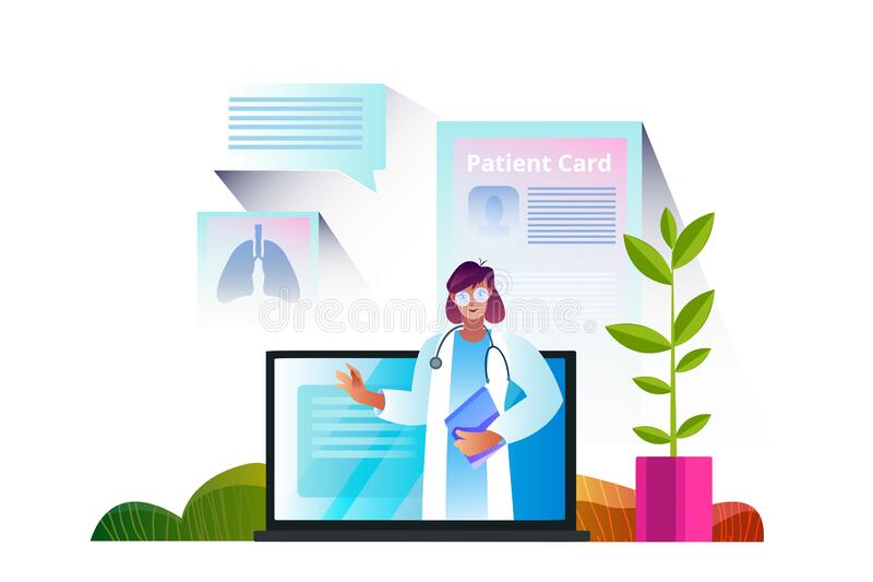 Vector illustration with cute female doctor, home plant, laptop, patient card, messages. royalty free stock images