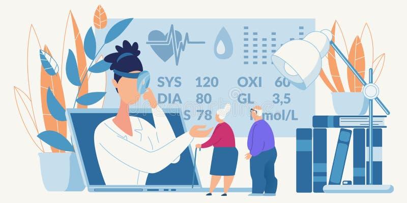 Online Medical Consultation for Old People Banner stock illustration
