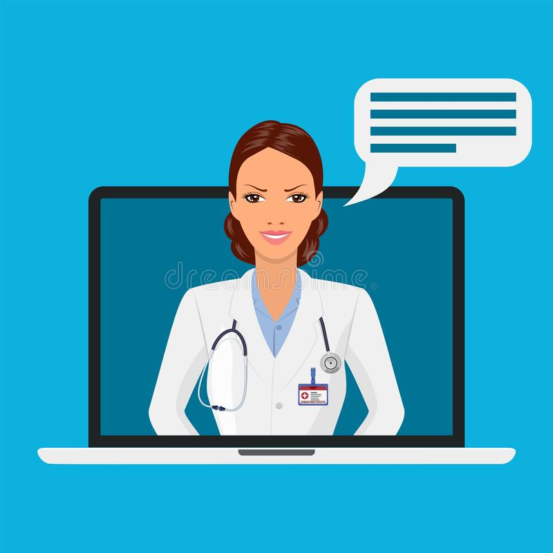 Online medical consultation and support. stock illustration