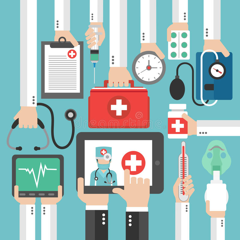 Online Medical diagnostics concept design flat. Vector illustration vector illustration
