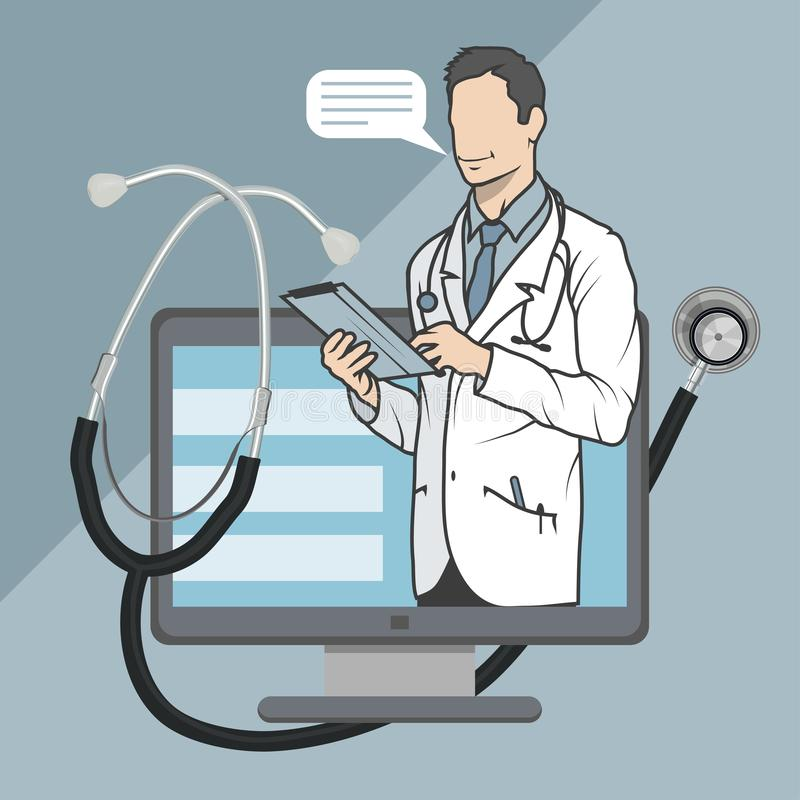 Online medical doctor, online consultation and support, mobile medicine emblem, icon, symbol, illustration, vector, online doctor,. Medical concept, internet stock illustration