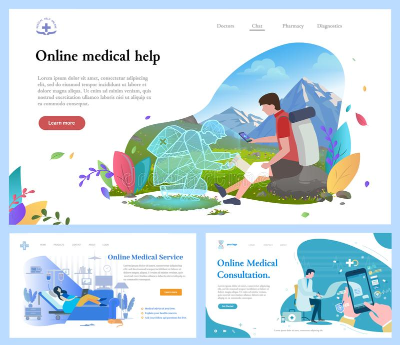 Online Medical Help and Consultation Website Set stock illustration