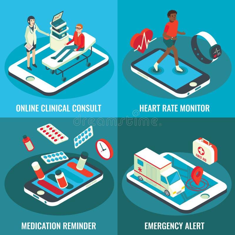 Online medical services vector flat isometric poster set vector illustration