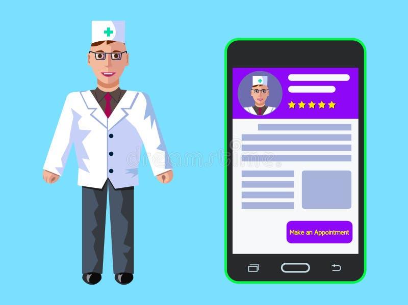 Online-medicin Registrering för doktor s Begrepp för rengöringsdukbanerdesign Plan illustration för vektor royaltyfri illustrationer
