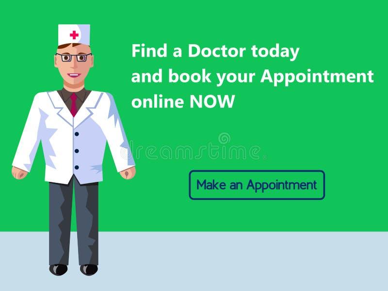Online-medicin Tidsbeställning för doktors` s Begrepp för rengöringsdukbanerdesign Plan illustration för vektor med grön bakgrund royaltyfri illustrationer