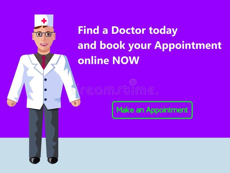 Online-medicin Tidsbeställning för doktors` s Begrepp för rengöringsdukbanerdesign Plan illustration för vektor med purpurfärgad  vektor illustrationer