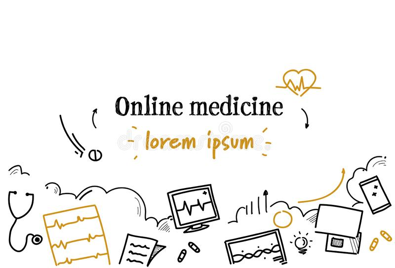Online medicine medical doctor consultation technology concept sketch doodle horizontal isolated copy space. Vector illustration royalty free illustration