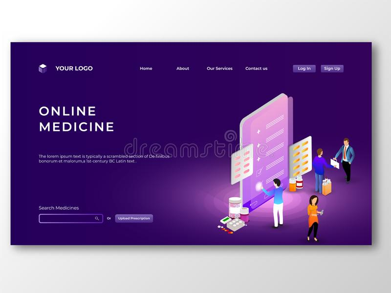 Online Medicine provided from mobile app concept. vector illustration