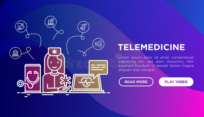 Telemedicine concept with thin line icons. Online medicine, telemedicine concept with thin line icons. Modern vector illustration, web page template on gradient vector illustration