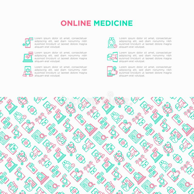 Online medicine, telemedicine concept with thin line icons: pill timer, ambulance online, medical drone, tracker, mHealth,. Messenger, check symptomps. Modern royalty free illustration