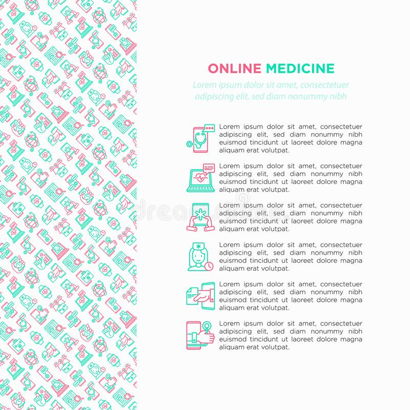 Online medicine, telemedicine concept with thin line icons: pill timer, ambulance online, medical drone, tracker, mHealth,. Messenger, diagnostics. Modern royalty free illustration