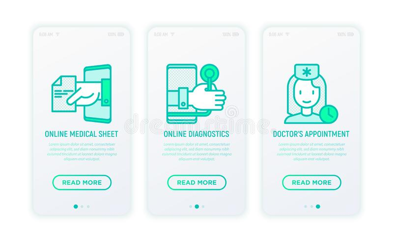 Online medicine, telemedicine thin line icons. Online medical sheet, diagnostics, doctor appointment. Modern vector illustration for user mobile app royalty free illustration