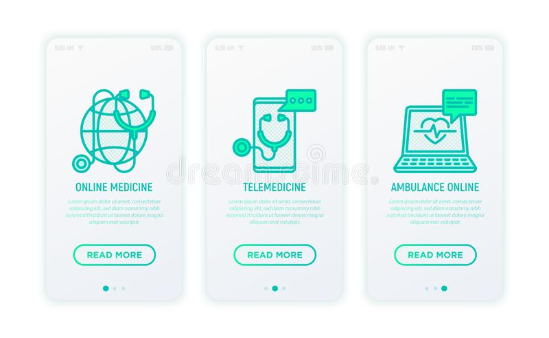 Online medicine, telemedicine thin line icons. Online medicine, telemedicine, ambulance thin line icons. Modern vector illustration for user mobile app stock illustration