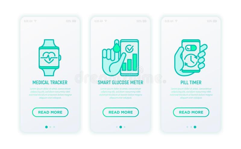 Online medicine, telemedicine thin line icons set. Medical tracker, smart glucose meter, pill timer. Modern vector illustration for user mobile app vector illustration