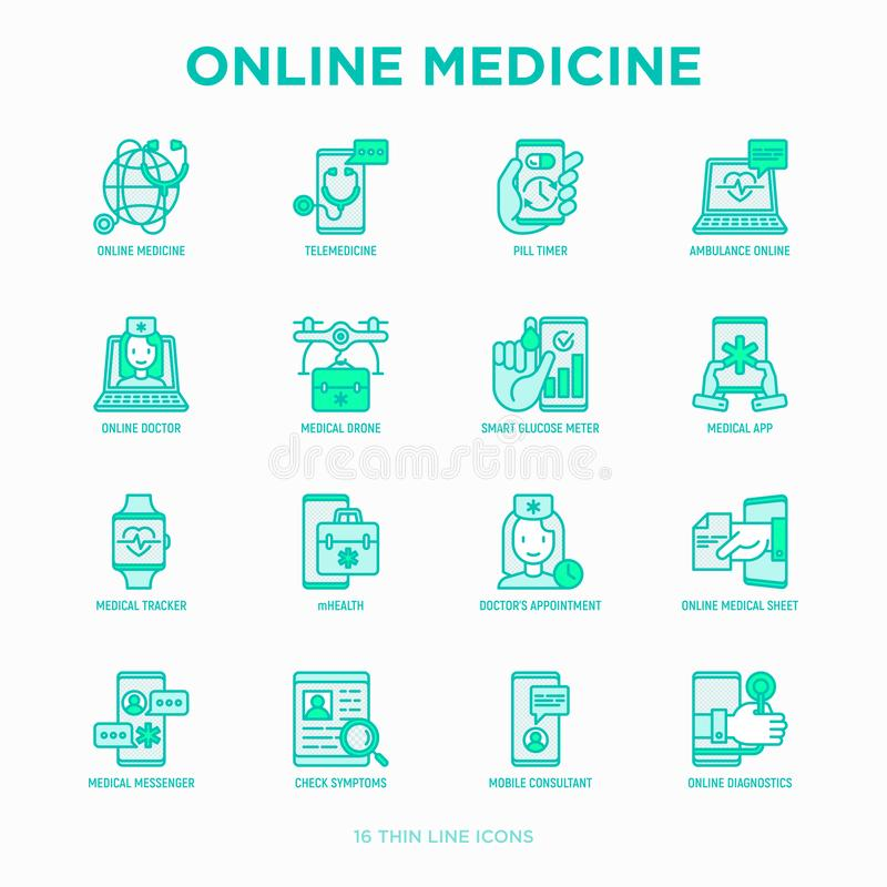 Online medicine, telemedicine thin line icons set: pill timer, ambulance online, medical drone, medical tracker, mHealth,. Messenger, check symptomps, mobile stock illustration