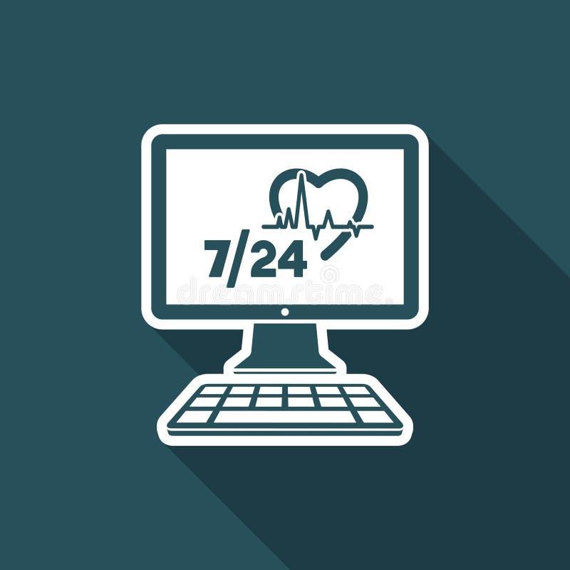 Online-medicinsk hjälp 7/24 - plan symbol för vektor royaltyfri illustrationer