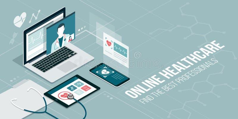 Online Medisch Overleg royalty-vrije illustratie