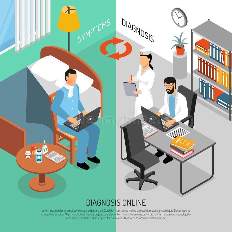 Online Medische Diagnose Isometrische Banners stock illustratie