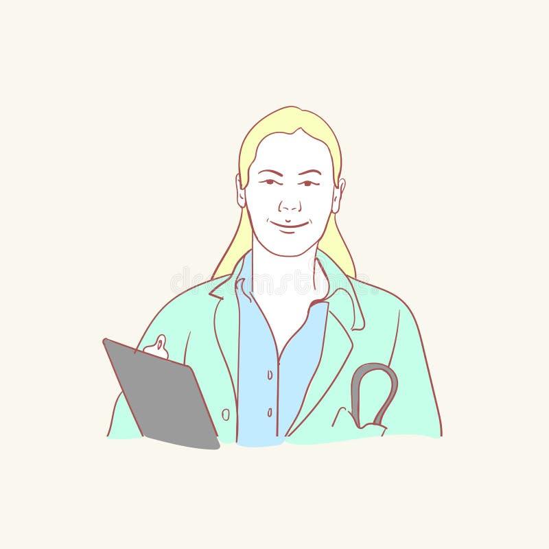 Online medische medewerker van de de stijl vectorkrabbel van de artsensteun hand getrokken het ontwerpillustraties stock illustratie