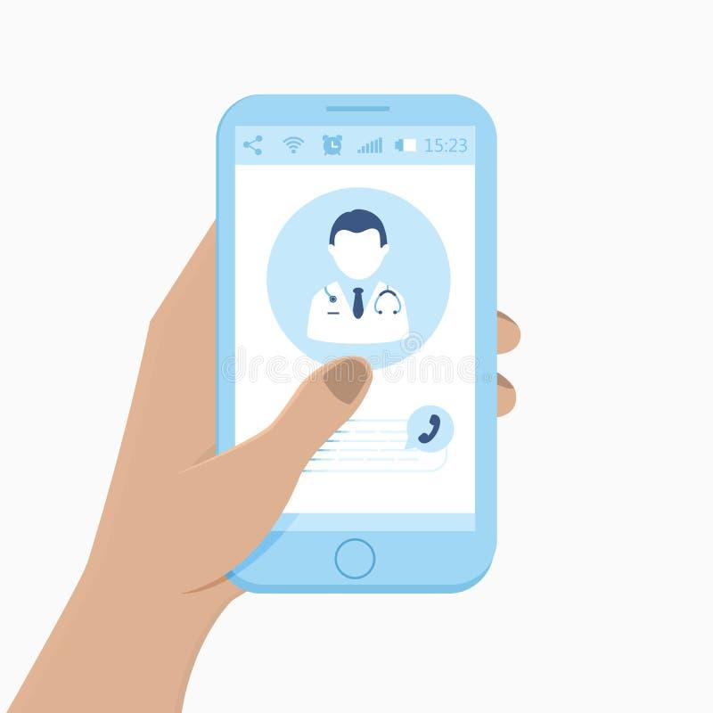 Online medycyny pojęcie doktorski online bank tła ręka trzymająca zauważy smartphone wektor royalty ilustracja