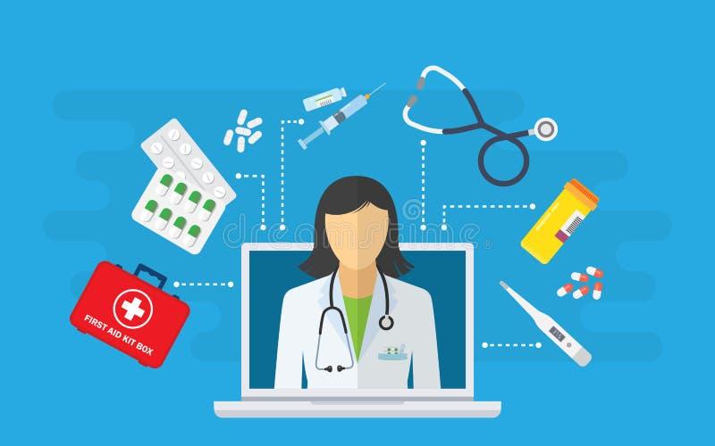 Online medyczna konsultacja i poparcie Online lekarka royalty ilustracja