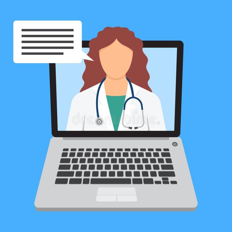 Online medyczna konsultacja i poparcie Online lekarka ilustracji