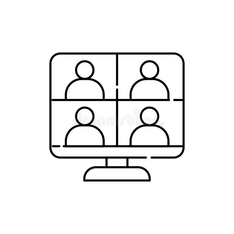 Free Online Meeting Color Line Icon. Pictogram For Web Page, Mobile App Stock Image - 215009711