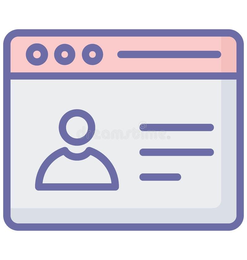 Online met betrekking tot Webbrowservensters en volledig editable profielvector stock illustratie