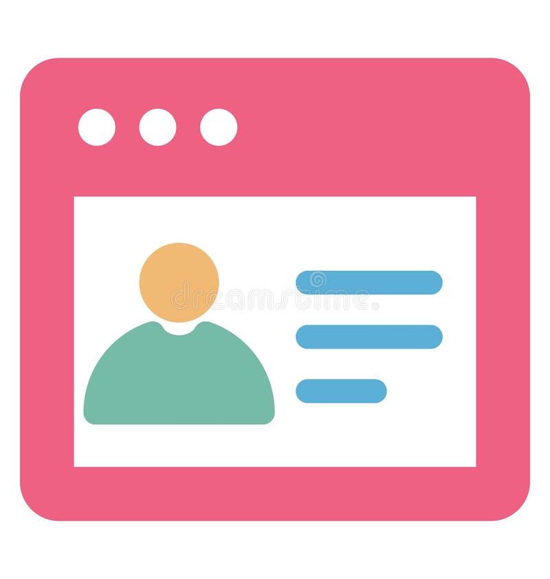Online met betrekking tot Webbrowservensters en volledig editable profielvector vector illustratie