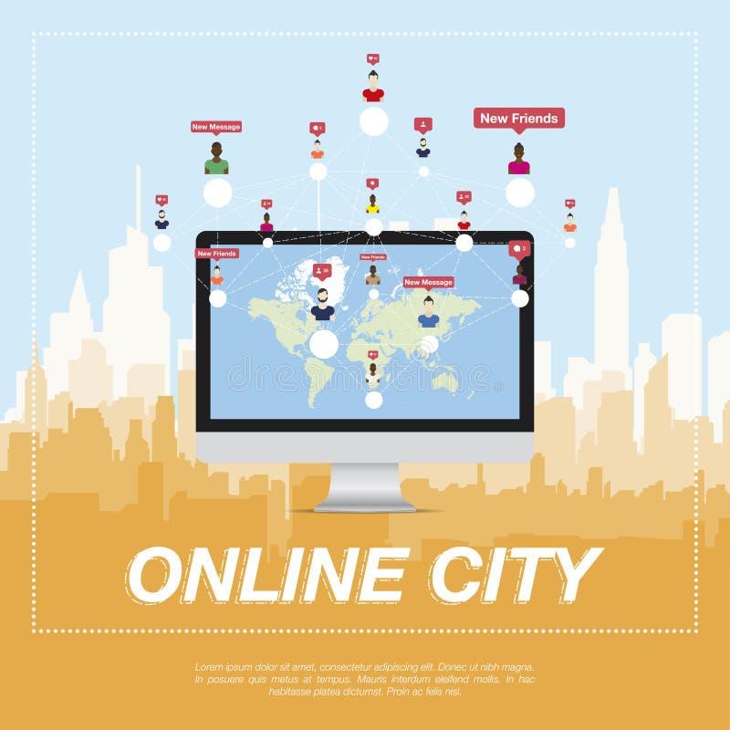 Online miasto, ludzie komunikuje w sieci ilustracji