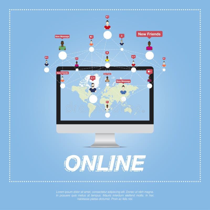 Online miasto, ludzie komunikuje w sieci royalty ilustracja