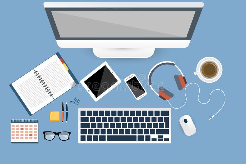 Online miejsce pracy kamery laptop w odgórnym widoku ilustracji