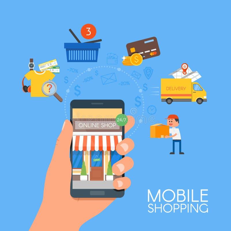 Online mobiel het winkelen concept Vectorillustratie in vlak stijlontwerp Betaling op Internet stock illustratie