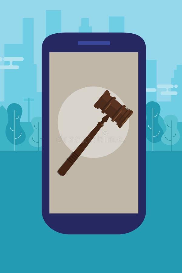 Online mobiel juridisch advies stock illustratie